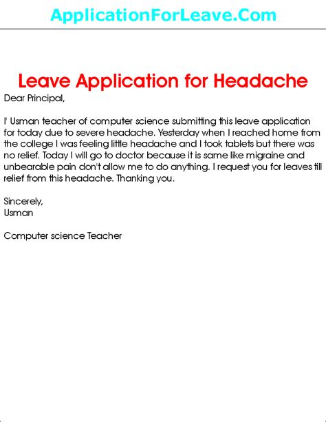 How To Write Letter To School Principal Inform On Vacation